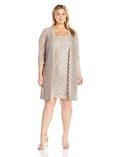 Alex Evenings Womens Plus Size Short Lace Jacket Dress Antique Nickel 18W ** Check out this great product. (Note:Amazon affiliate link) #EveningDresses