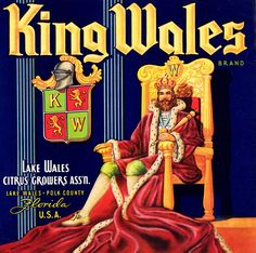 King Wales Citrus Fruits Vintage Labels, Vintage Ads, Vintage Images, Vintage Signs, Vintage Posters, Retro Advertising, Vintage Advertisements, Lake Wales Florida, Orange Crate Labels