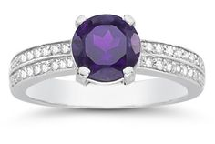 applesofgold.com - 1.55 Carat Amethyst and Diamond Ring in 14K White Gold