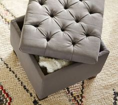 Lorraine Upholstered Cube, Polyester, Twill Cadet Navy