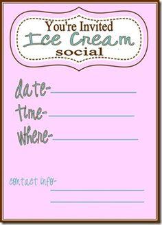Ice Cream Social Invite - Pink