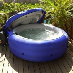 Portable Hot Tub - Four Person Spa - Inflatable Jacuzzi Whirlpool Style Jacuzzi, Best Inflatable Hot Tub, Portable Spa, Portable Hot Tub Ideas, Portable Bathtub, Outdoor Fun, Outdoor Decor, My Pool, Kiddie Pool