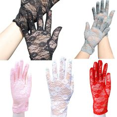 Jacquard Style Sun Protection Accessories Lace Hollow-Out Gloves Skid Resistance Pattern Lace Gloves JL