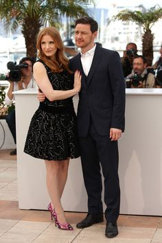 """James McAvoy Jessica Chastain Photos - Jessica Chastain and James McAvoy attend """"The Disappearance of Eleanor Rigby"""" photocall at the 67th Annual Cannes Film Festival on May 18, 2014 in Cannes, France. - """"The Disappearance Of Eleanor Rigby"""" Photocall - The 67th Annual Cannes Film Festival"""