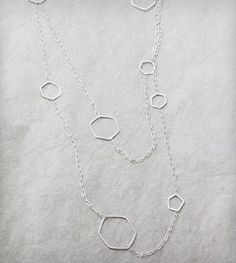 Elaine B Jewelry: Extra-Long Hexagon Necklace Silver