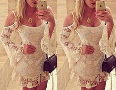 Vestido Branco Curto De Renda...