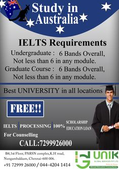 STUDY IN AUSTRALIA - UNIK Global Services #overseaseducation, #abroadeducation, #freeeducation, #freeielts,#studyinaustralia  Want to study in Australia? A global leader in the field of education,quality of faculty,research and generic experience.Get expert advice on Australian universities,applications,visa,costs and about living in Australia. Address : B4,1st Floor,PARSN complex, K.H Road,Nungambakkam-600 006 contact : 044 4204 1414 7299926000