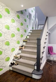 Love the stairs w charcoal handrail, tread and end, and striped carpet. Not the wallpaper. Stairs. Sage Design Studio - Private Residence, Oakville, Ontario