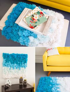 Use pom poms to DIY this rug, wall hanging, and table cover in one.