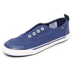 Sperry Quest Skip Sneakers ($60) ❤ liked on Polyvore featuring shoes, sneakers, navy, navy sneakers, navy blue slip on sneakers, striped sneakers, navy blue canvas shoes and navy slip on sneakers