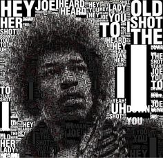 beautiful typography pictures of Jimi Hendrix Typography Portrait, Creative Typography, Typography Art, Woodstock, Jimi Hendricks, Hey Joe, Web Design, Portraits, Illustrations