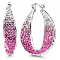Sterling Silver Pink Ombre Crystal Hoop Earrings with Swarovski Elements (£30) found on Polyvore