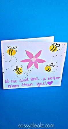 Fingerprint Bee Mother's Day Card for Kids to Make - Sassy Dealz