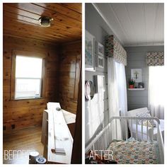 How to paint pine for a white washed look how to paint Wood paneling transformation
