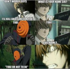 LIght from Death Note and tobi from naruto #anime #funny