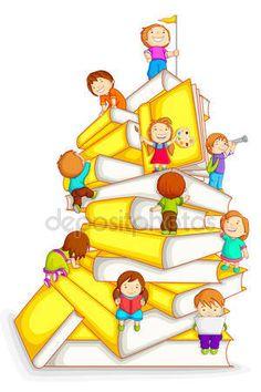Baixar - Filhos de escalada na pilha do livro — Ilustração de Stock #12456930