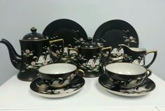 11 Piece Hand Painted Nippon China Tea Set for Two.  Swans and Lily Pads #Nippon