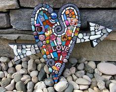 Heart With Arrow. (Handmade Mixed Media Mosaic Wall Decor by Shawn DuBois)