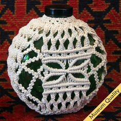 """Macrame Covered 1930's """"Sunkist"""" Juice Bottle Collector's Item ~ Size:6.5""""x6""""x3.5"""""""