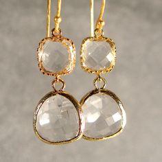 Bridesmaid Gifts - Wedding Earrings, Bridal Earrings, Gold Glass Earrings, Gold Crystal Glass Earrings (526-2355W)    etsy: ilexiadesigns  BRIDAL AND DESIGNER JEWELRY