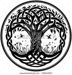 Vector ornament, decorative round Celtic tree of life - stock vector