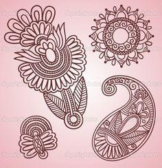 Henna Flowers   Hand-Drawn Henna Mehndi Tattoo Flowers and Paisley Doodle Vector ...