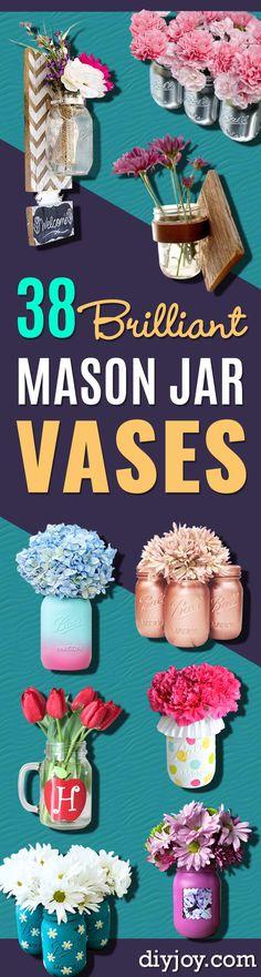 DIY Mason Jar Vases - Best Vase Projects and Ideas for Mason Jars - Painted, Wedding, Hanging Flowers, Centerpiece, Rustic Burlap, Ribbon and Twine http://diyjoy.com/diy-mason-jar-vases