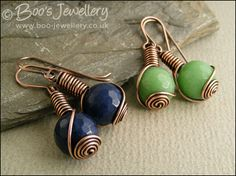 Faceted jade rosebud knot wrap earrings - 2 colours to choose from - Hand Crafted Jewellery by Boo - original jewellery in copper, bronze and Sterling silver Artisan Jewelry, Handcrafted Jewelry, Earrings Handmade, Wire Wrapped Earrings, Wire Earrings, Wire Jewelry Designs, Jewelry Crafts, Copper Jewelry, Beaded Jewelry