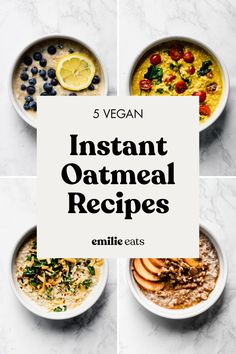 These five vegan recipes for instant oatmeal make sure that breakfast is always exciting! There are savory and sweet recipes to satisfy any craving. #oatmeal #breakfastrecipes