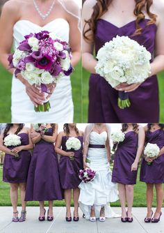 Purple + White for the ladies....pretty much sums it up with the dresses and flowers except chiffon dresses, not satin