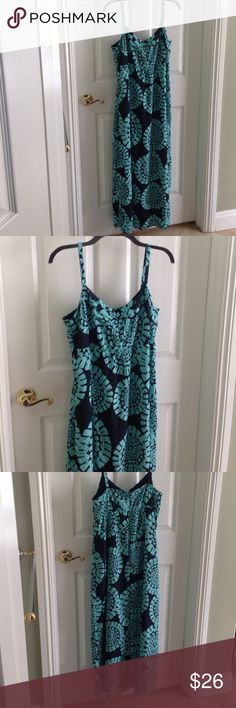 Long maxi summer dress- Ann Taylor Loft- beautiful Dark Blue and soft teal green floral maxi sun dress.  In like new condition.  This dress is gorgeous! Ann Taylor Dresses Maxi