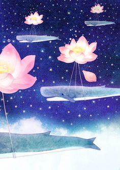 Lotus Whales Art Print by Hajin Bae | Society6