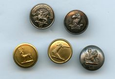 SOLD: 5 small antique livery buttons