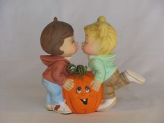 """This piece is hand painted. Approximately 7 high and 7 """" wide. Ceramic Bisque, Ceramic Decor, Hand Painted Ceramics, Ceramic Painting, Kissing, Halloween Decorations, Disney Characters, Fictional Characters, Disney Princess"""