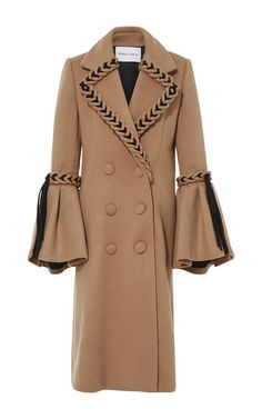 Long Double Breasted Coat With Braiding by PRABAL GURUNG for Preorder on Moda Operandi