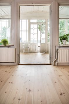 Beautiful White waxed Pine floorings from Rappgo/Mörkaskog.