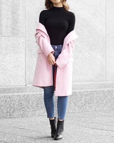 A Little Detail - Pink Coat // Black Turtleneck // Skinny Jeans // Black Boots // #winterfashion #springfashion #pinkcoat #blackturtleneck #pinkjacket #fashion #outfit #womensfashion