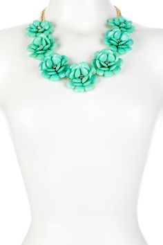 Mint Flower Statement Necklace