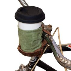 Cruzy Leather Bike Cup Holder Handmade by Hide & Drink — The Stockyard Exchange Canvas Leather, Bonded Leather, Soft Leather, Bike Cup Holder, Large Containers, Natural Preservatives, Leather Conditioner, Estilo Retro, Bicycles