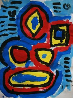 abstract shape painting in primary colors