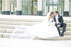 Dallas wedding photographer, cathedral length wedding veil, white bridal bouquet, black groom tuxedo, outdoor bride and groom wedding pictures, Dallas Petroleum Club Wedding » Mary Fields Photography