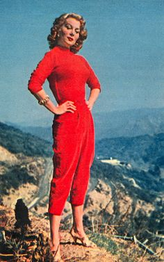 Rhonda Fleming in red outfit, 1950s