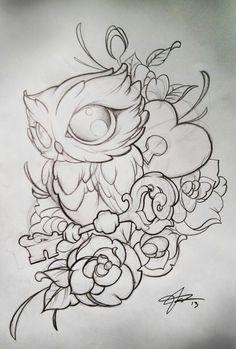 Jesse Turner Wisconsin (: – Graffiti World Owl Tattoo Drawings, Pencil Art Drawings, Art Drawings Sketches, Tattoo Sketches, Easy Drawings, Animal Drawings, Bild Tattoos, Cute Tattoos, Body Art Tattoos