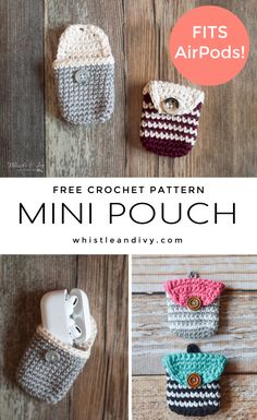 Crochet Coin Pouch/Crochet AirPods Pouch - Free Crochet Pattern Free Pattern: Crochet Coin Purse - Works as a crochet Airpod Case too! This tiny, adorable crochet pouch fits all your loose change or keeps those tiny earbuds safe. Coin Purse Pattern, Crochet Coin Purse, Crochet Case, Crochet Diy, Crochet Gratis, Crochet Purses, Crochet Dolls, Crochet Change Purse, Diy Coin Purse
