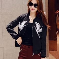 Embroidered bird jacket for women black bomber jacket Chinese style Embroidered Bomber Jacket, Printed Bomber Jacket, Black Bomber Jacket, Embroidered Bird, Chinese Style, Fall Outfits, Jackets For Women, Womens Fashion, Clothes