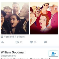 "A fan animated the original ""Beauty and the Beast"" characters recreating the live action cast selfie and it's glorious! <3"