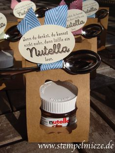 mini nutella glas kleine geschenke pinterest flasche nutella und schachteln. Black Bedroom Furniture Sets. Home Design Ideas