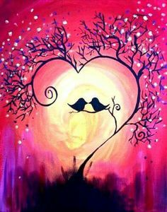 Paint Nite: Discover a new night out and paint and sip wine with friends Easy Canvas Painting, Diy Painting, Painting & Drawing, Canvas Art, Canvas Paintings, Love Birds Painting, Love Birds Drawing, Heart Painting, Canvas Ideas