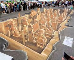 Fantastic Street Art at the Sarasota Chalk Festival. This based on the ancient Chinese Terracotta Warriors  We had a great time enjoying all the talented artists.
