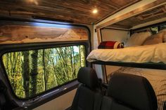 """""""The Family Van"""", a Sprinter 144 built for a family of five has an electronic bunk bed, a kitchen galley, and seating for the whole family. Ford Transit Conversion, Sprinter Conversion, Van Conversion Interior, Camper Van Conversion Diy, Van Conversion Lighting, Sprinter Van, Mercedes Sprinter, Grey Water System, Rv Bus"""